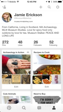 This is my home page on Pinterest, with my archaeology collaboration board on the left and my recipe board on the right.